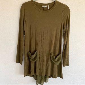 LOGO Lori Goldstein Olive Green Long Sleeve Tunic
